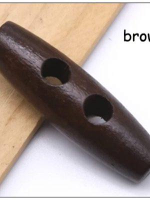 Пуговицы Бочонок 38х11 мм (коричневое дерево)
